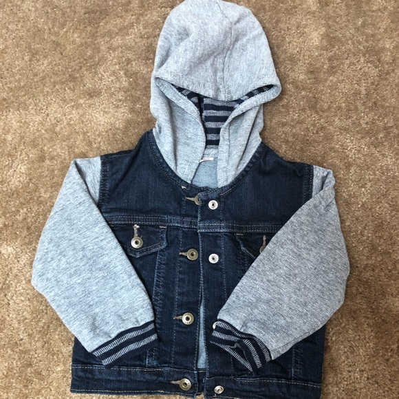 015a6171 Wrangler Jackets & Coats | Baby Boy Hooded Denim Fleece Jacket Sz 18 ...